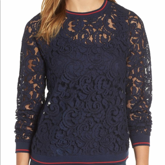 Halogen rib trim blue lace top long sleeve
